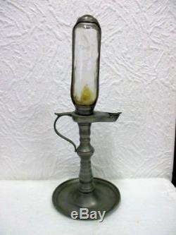 Ancienne et rare lampe horloge à huile en étain