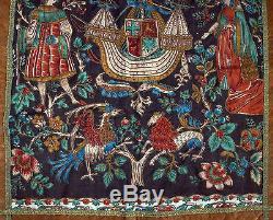 Ancienne tapisserie bannière blason (Si nobles n'a dessoubz les cieulx je ne)