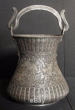 Antique Islamique Qajar Pot Qalamzani Persian Miniature Certificat + Provenance