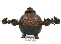 Art Africain Tribal Pot à Onguents Senoufo Senufo Finition Extrême 36 Cms