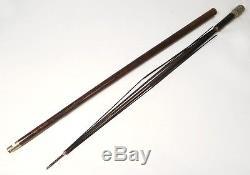 Canne à système parapluie bois pommeau métal argenté antique cane XIXème