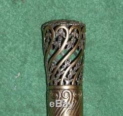 Canne ancienne objet Charles X, pommeau vermeil marcassite vintage cane