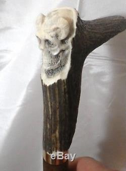 Canne de marche, bâton bois cerf tête de mort artiste France cane walking stick