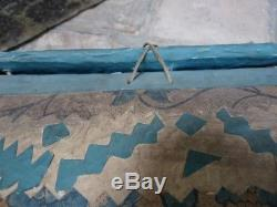 Coffret en carton papier peint domino té époque XVIIIe, bleu art populaire