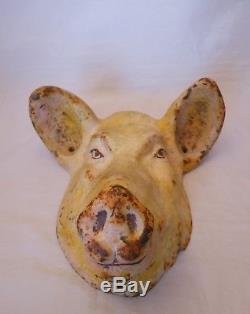 Enseigne Boucherie Charcuterie/tete De Cochon En Fonte