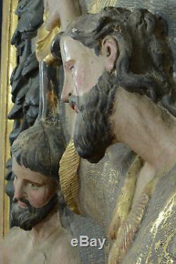 Exceptionnel Tableau Retable Baroque Baptême du Christ Valladolid Bois doré 17e