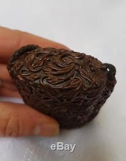 INRO à 4 compartiments en bois sculpté laqué. Japon fin du 19ème. Période MEIJI