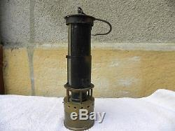 LAMPE GRISOUMETRIQUE de mineur CHESNEAU COSSET DUBRULLE 1880 French miners lamp