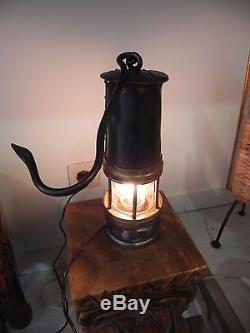 LAMPE de MINEUR LAITON VERRE BACCARAT MINE st etienne