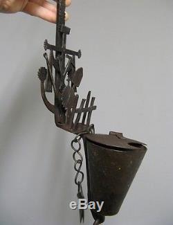 Lampe à huile début XXe. Fer forgé. Art populaire. Lampe de mine