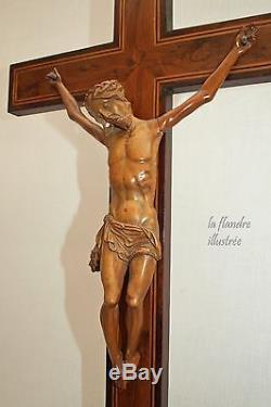 Magnifique grand christ en buis sculpté 19ème croix en loupe religion