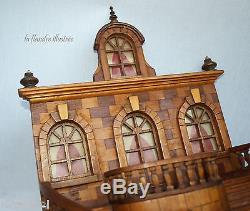 Maquette architecturale d'un perron de villa en bois travail de compagnon