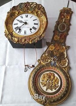 Mouvement horloge comtoise et balancier décor polychrome champêtre