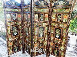 Paravent Indien Rajasthan Peint Et Sculpte A La Main / Reversible