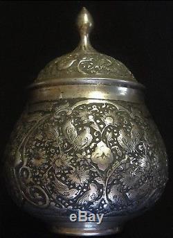 Persian Hand Engraved Copper Qalamzani Kajar 19th C / Certificate + Provenance