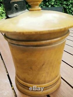 Rare Boîte Dévidoir à ficelle ancienne en buis début du 20 ème siècle