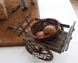 Rare grand automate, santon de Provence boulanger à son four mobile électique