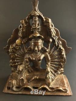 Rare statuette en bronze Durga Jain Inde à 10 paires de bras -fin XIXeme -1,5 kg