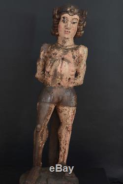 Superbe Statue Religieuse 15 éme haute époque Médiéval Gothique saint Sebastien