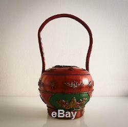 Superbe grand panier ancien (mariage), en bois, décor bas relief, Chine XIX ème
