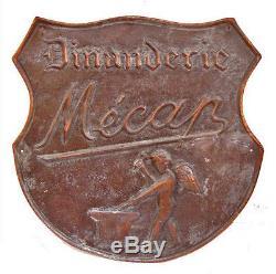 Superbe plaque enseigne publicitaire de dinandier cuivre