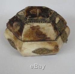 Très Rare Ottoman Antique BONE BOX Boite de Bijou Turc en OS Turquie 19th C